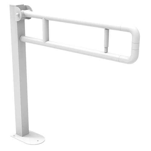folding supporting bar on post with paper holder