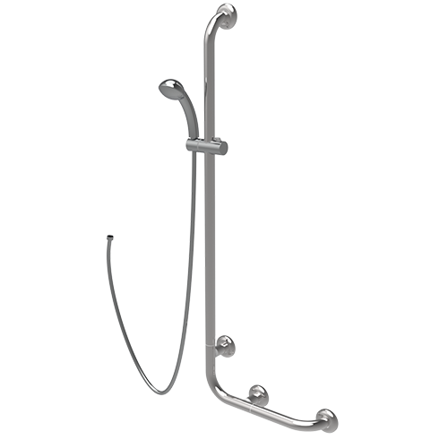 inox handrail with sliding rail shower
