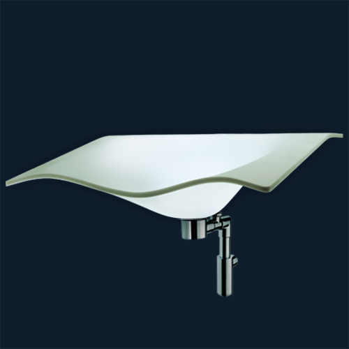 lavabo Flight avec trop plein, support déjà monté, siphon
