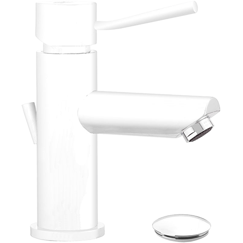 matt white wash-basin mixer with single lever