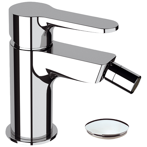 CHROME BIDET MIXER COMPLETE WITH POP-UP WASTE