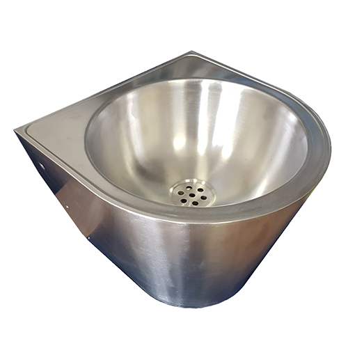 ROUND WASHBASIN IN POLISHED AISI304 STAINLESS STEEL - COMPLETE WITH BRACKET