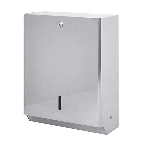 WALL POLISHED STAINLESS STEEL DISPENSER FOR INTERLEAVED PAPER TOWELS