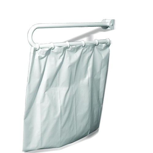 folding up bar for shower curtain, INOX brilliant