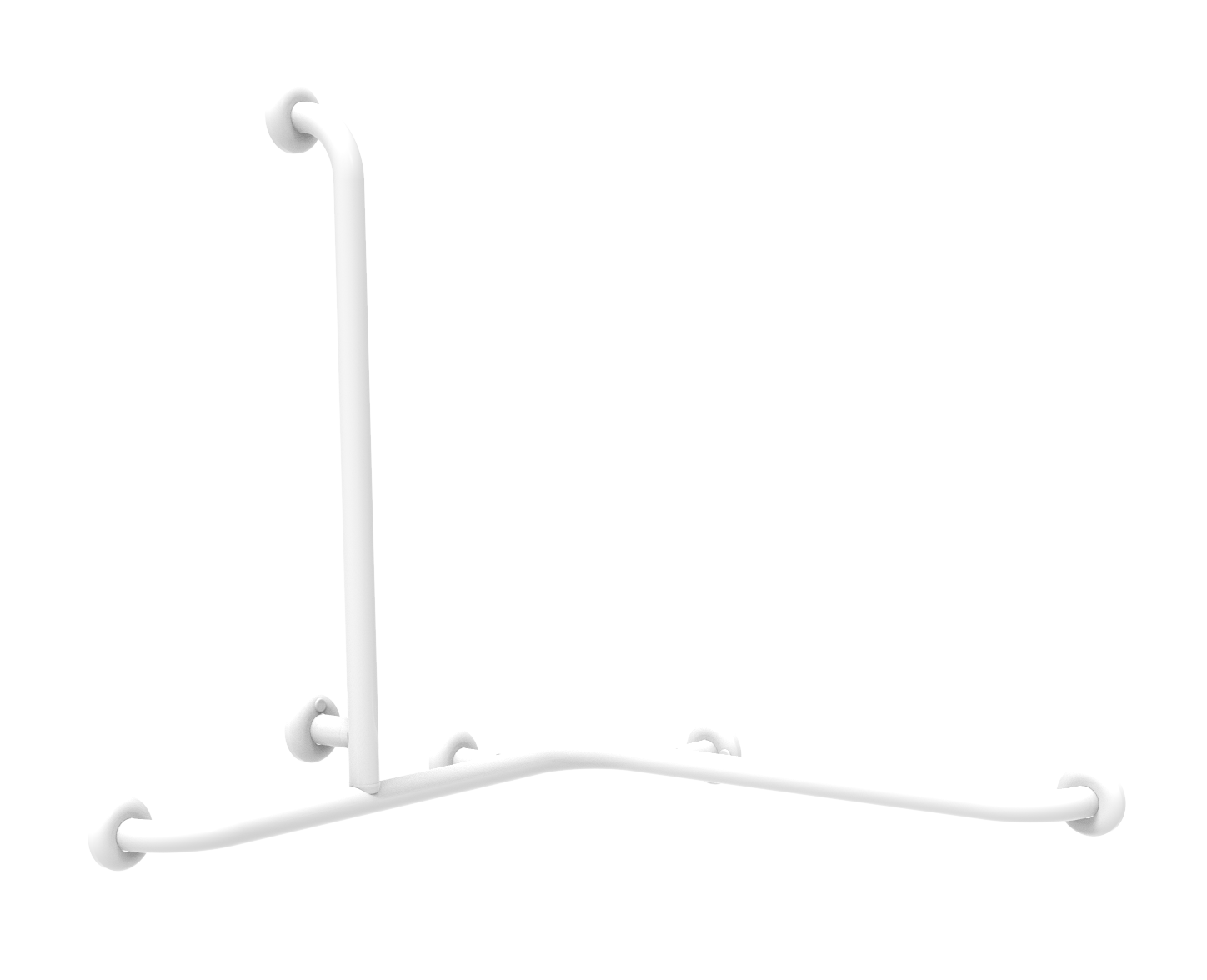 corner handrail with right/left lateral vertical universal rod