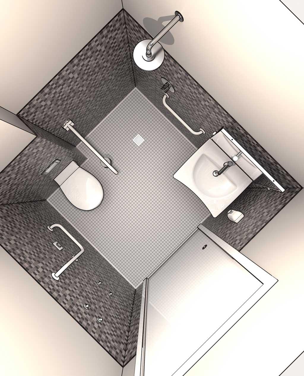 Progettazione DWG Bagni disabili disegni in 3D