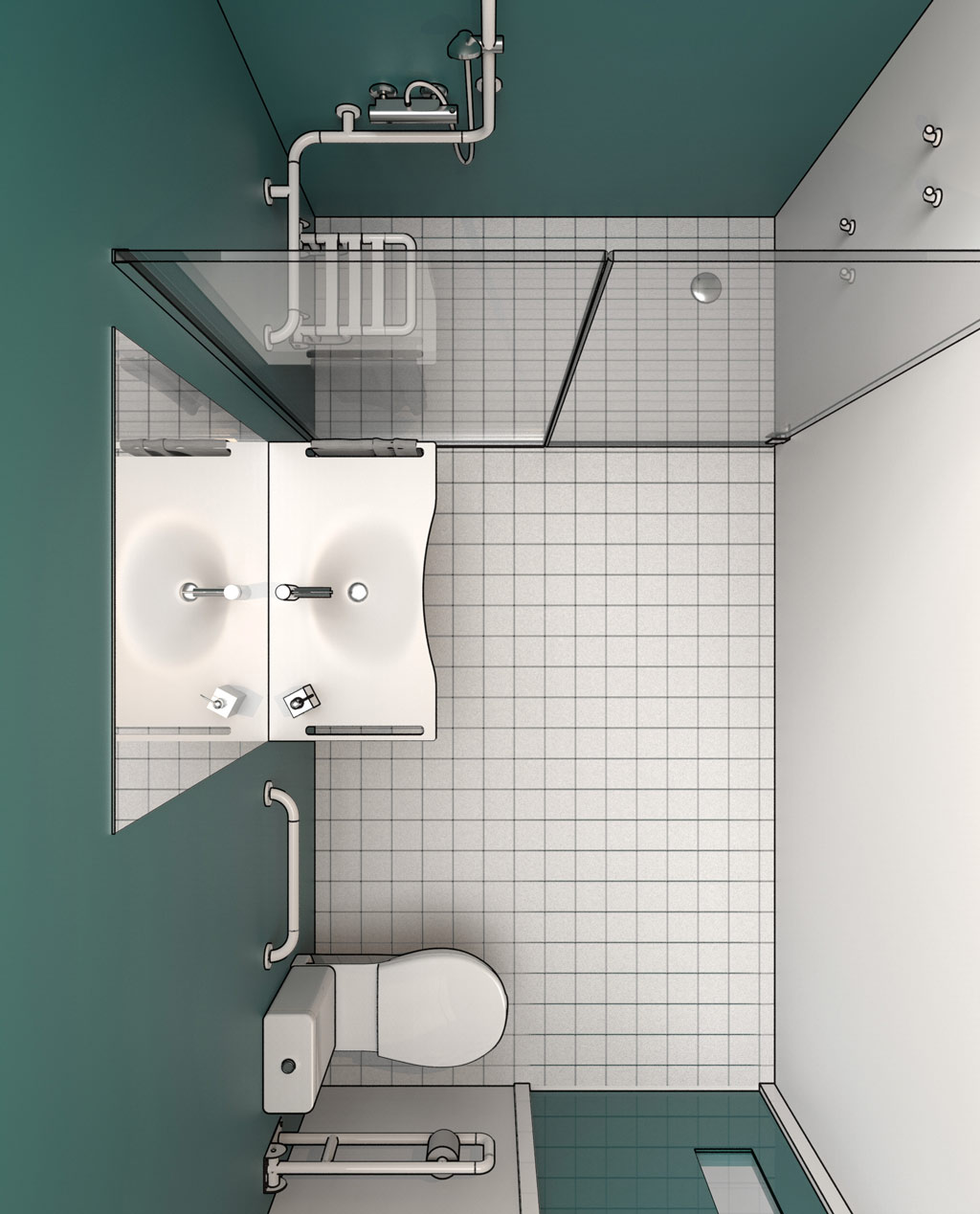 Progettazione dwg bagni disabili disegni in 3d - Bagno disabili dwg ...